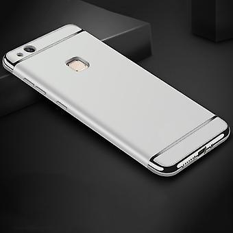 Handy Hülle Schutz Case für Huawei P10 Lite Bumper 3 in 1 Cover Chrom Silber