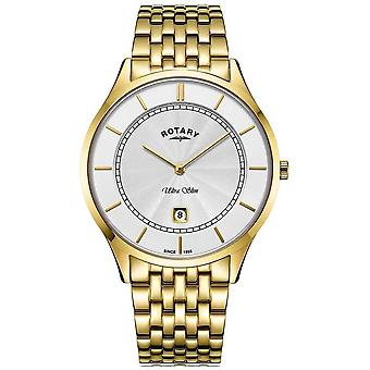 Rotatorio para hombre Ultra Slim Gold Plated reloj de pulsera GB08413/02