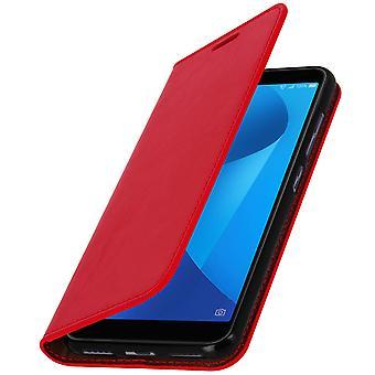 Zakelijke boek leergeval, stand case voor Asus Zenfone Max Plus M1 - rood