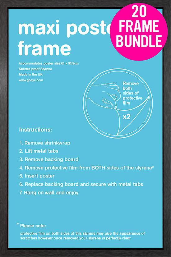 GB affiches 20 noir Maxi Poster Frames 61x91.5cm Bundle