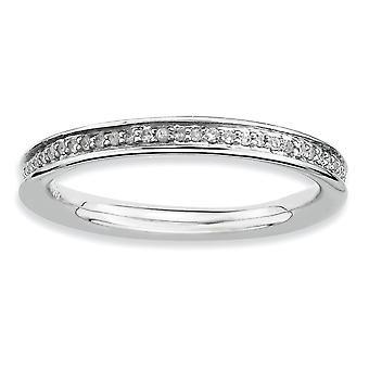 Sterling zilveren Prong Rhodium-plated stapelbare expressies en diamant gepolijste Ring - Ring grootte instellen: 5 tot en met 10