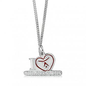 Collier avec pendentif «I love gymnastique avec le coeur», argent