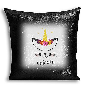 i-Tronixs - Unicorn Printed Design Black Sequin Cushion / Pillow Cover with Inserted Pillow for Home Decor - 2