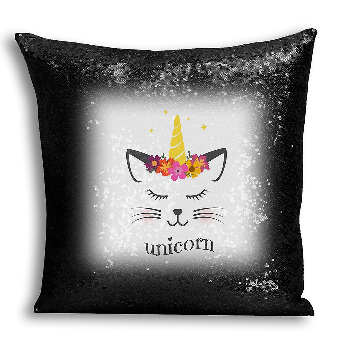 With tronixsUnicorn Decor 2 Home Inserted I Printed Black Design Sequin CushionPillow For Cover DEH2I9