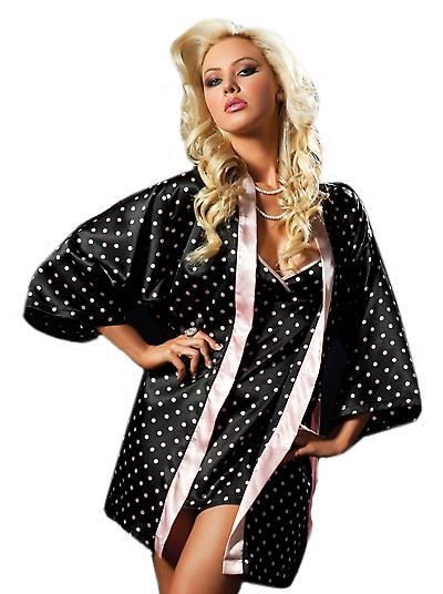 Waooh - Lingerie - Enemble nightie and peas with kimono bathrobe