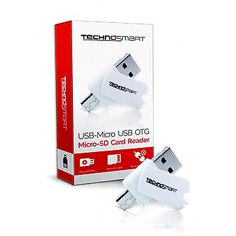 TECHNOSMART Micro SD Card Reader , USB OTG Adapter for Memory Cards , For Computer, Notebook, Tablet and Smartphone (SD, SDHC, SDXC)