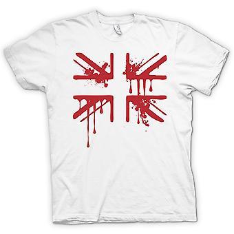 Grunge Blood Union Jack - 100% Cotton Short Sleeve Ladies T Shirt