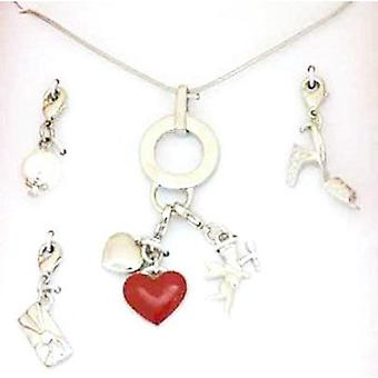 Henley Glamour Ladies Interchangeable Silvertone Red Heart Charm 16