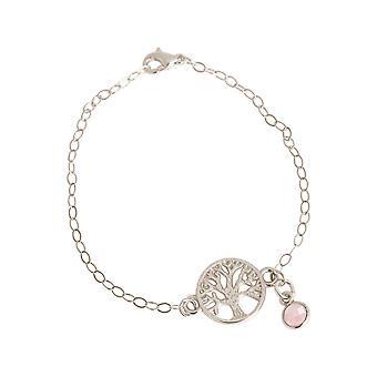 GEMSHINE YOGA armbånd livet treet og Rosenkvarts. 925 sølv eller høy kvalitet forgylt sjarm på armbånd. Bærekraftig, kvalitet smykker laget i Spania