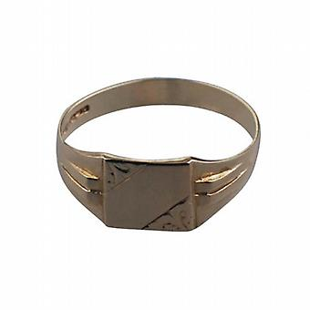 9ct Gold 10x9mm gents engraved square Signet Ring Size R