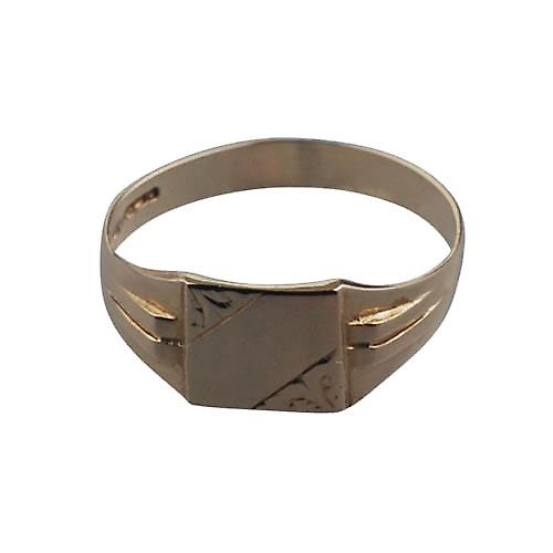 9ct Gold 10x9mm gents engraved square Signet ring