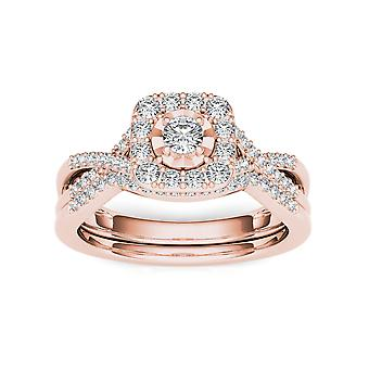 IGI Certified 10k Rose Gold 0.40 Ct Round Cut Diamond Halo Engagement Ring Set
