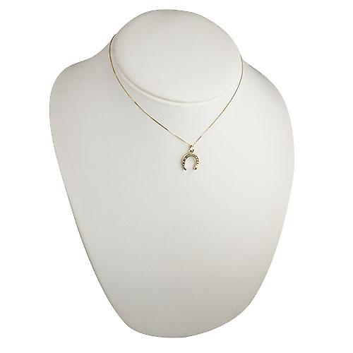9ct Gold 15x14mm horse shoe Pendant with a curb Chain 16 inches Only Suitable for Children