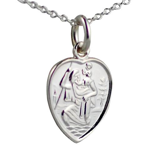 Silver 15x13mm heart St Christopher with Rolo chain