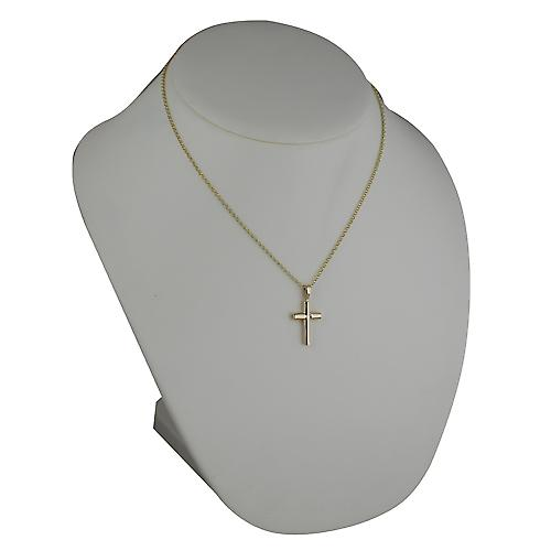 9ct Gold 23x15mm plain round Cross-section Cross with belcher Chain 18 inches