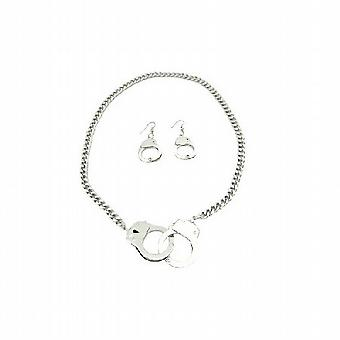 Gorgeous Hand Cuff Pendant & Earrings w/ Thick Chain Necklace