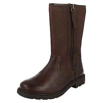 Girls Clarks Boots Ines Rain Brown Size 7.5 G