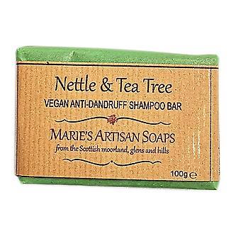 Marie's Artisan Soaps Handmade Vegan Anti Dandruff Shampoo Bar 100g - Nettle & Tea Tree