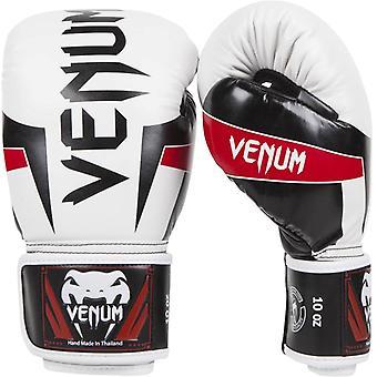 Venum Elite Skintex Hook and Loop MMA Training Boxing Gloves - White/Black/Red
