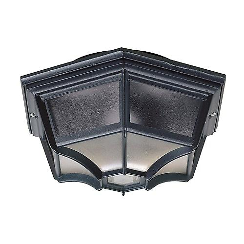 Endon YG-0100-BL Traditional Black Aluminium Outdoor Flush Porch Bulkhead