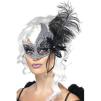 Mascherina di Carnevale di Dark Angel con bande sul lato e piume