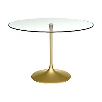 Gillmore Space Pedestal Large Dining Table Clear Glass And Brass