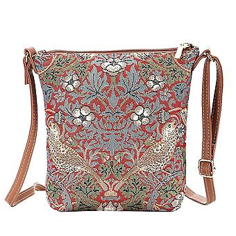 William morris - strawberry thief red sling bag by signare tapestry / sling-strd
