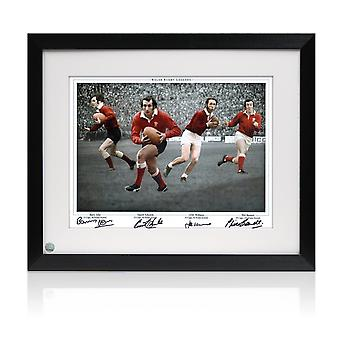 Framed Wales Rugby Photograph signed by Gareth Edwards, JPR Williams, Phil Bennett and Barry John