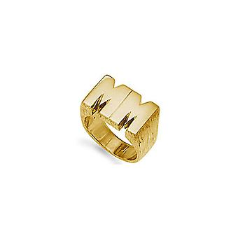 Jewelco London Men's Solid 9ct Yellow Gold Personalised Identity Barked Initial Ring