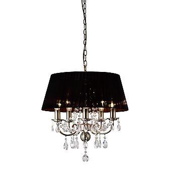 Diyas IL30047 Olivia Pendant With Black Shade 5 Light Antique Brass/Crystal