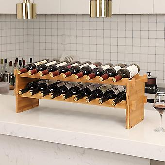 Bamboo Wine Rack for 18 bottles-stackable