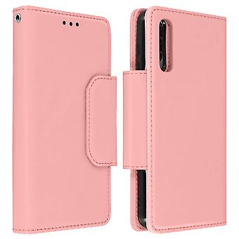 Magnetic Detachable Wallet Folio Case for Samsung Galaxy A70 - Pink