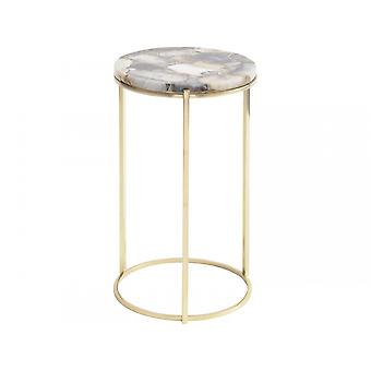 Libra Furniture Multi Coloured Agate Circular Side Table With Brass Frame