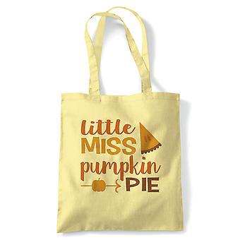 Little Miss Pumpkin Pie Tote | Halloween Fancy Dress Costume Trick Or Treat | Reusable Shopping Cotton Canvas Long Handled Natural Shopper Eco-Friendly Fashion