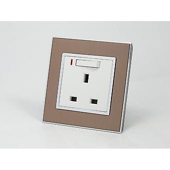 I LumoS AS Luxury Gold Satin Metal Single Switched with Neon Wall Plug 13A UK Sockets