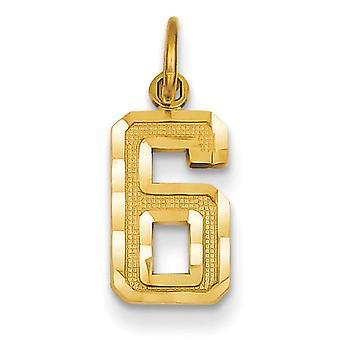 14 k geel gouden effen satijnen kleine Sparkle-Cut nummer 6 charme -.8 gram - maatregelen 20.3x7.8mm