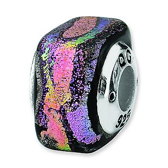 Sterling Silver Reflections Purple Square Dichroic Glass Bead Charm