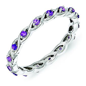 2,5 mm argent Sterling Expressions empilable Amethyst Ring - Ring taille : 5 à 10
