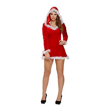 Sexy Red Santa Hooded Top/ Dress with White Fur Trim