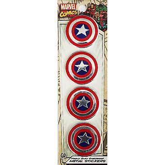 Marvel Licensed Heavy Duty Embossed Metal Stickers 4/Pkg-Captain America 1.125