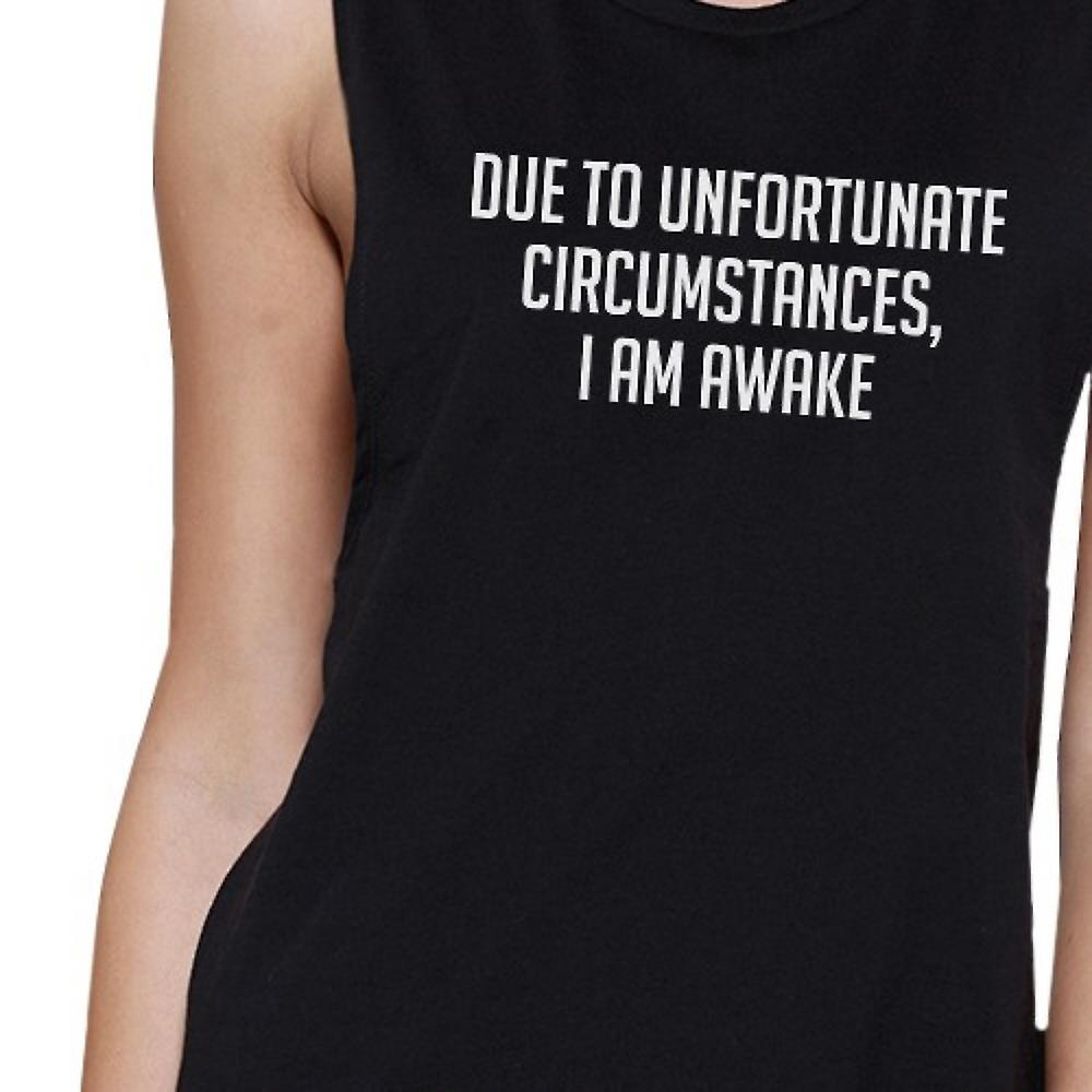 Im Awake Womens Black Muscle Tanks Letter Printed For Sleep Lovers