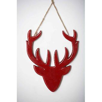 Christmas Red Ceramic Hanging Deer Head Decoration