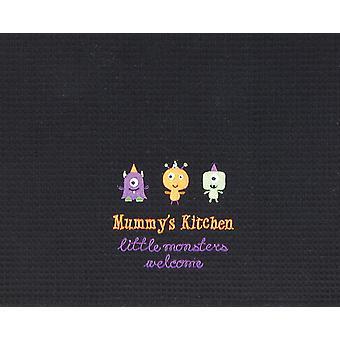 Mors køkken små monstre velkommen Halloween sort vaffel væve håndklæde