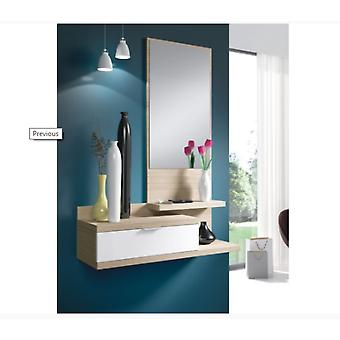Bricohabitat Dahlia Hall 1C + Mirror Nature / Gloss White 81x116x29 cm