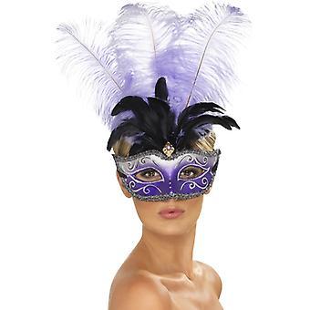 Venetian Columbina eye mask with multicolored plume