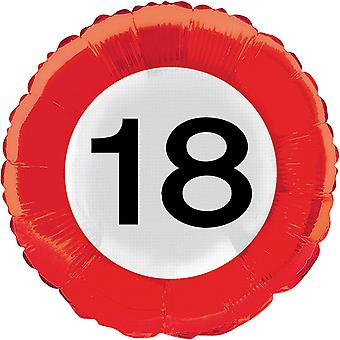 Foil balloon traffic sign number 18 birthday helium balloon party