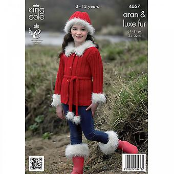King Cole Pattern 4057 - Jacket, Gilet, Boot Toppers, Hat & Headband