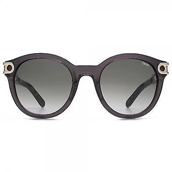 Chloe Cate Temple Round Sunglasses In Dark Grey