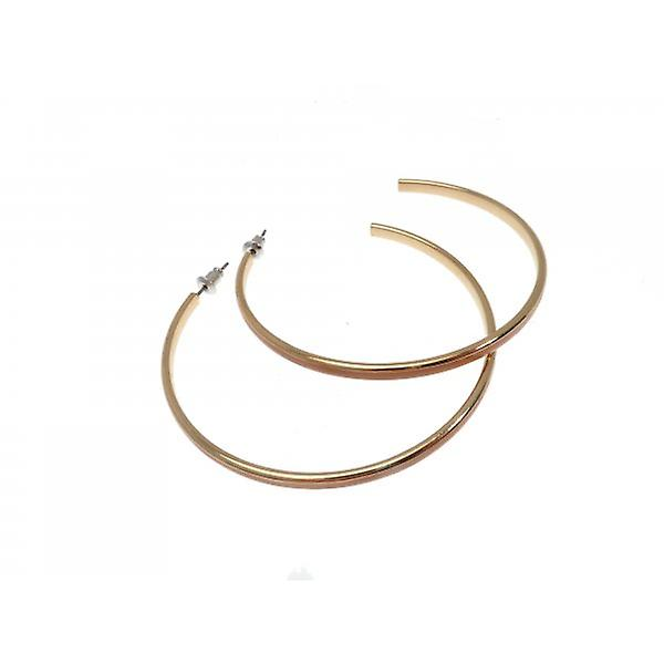 W.A.T Gold Style Tan Enameled Hoop Pierced Fashion Earrings