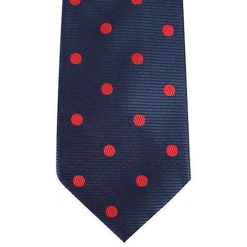 David Van Hagen Ribbed Polka Dot Tie - Navy/Red